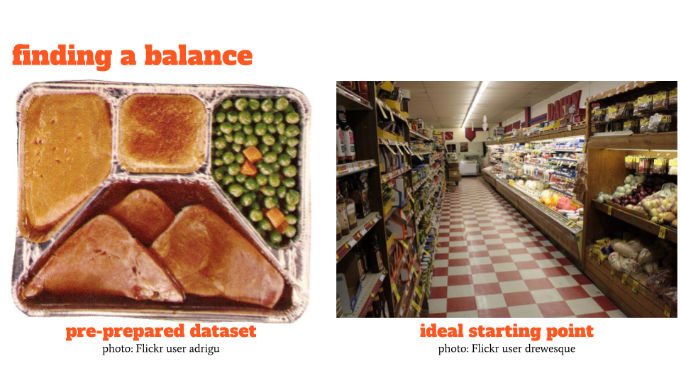 on left, unappetizing photo of frozen TV dinner, on right, a grocery store