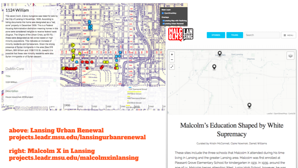 screenshots of Lansing Urban Renewal and Malcolm X in Lansing projects