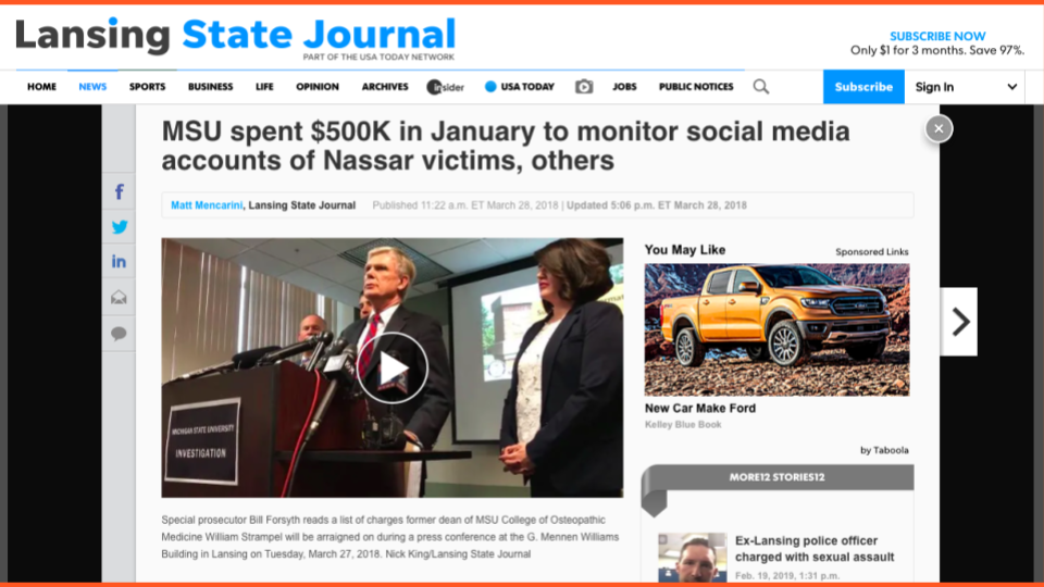 """newspaper headline """"MSU spent $500k in January to monitor social media accounts of Nassar victims, others"""